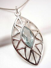 Faceted Blue Topaz Marquise Pendant 925 Sterling Silver Cut Gemstone Stone New