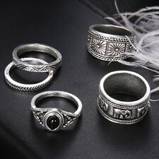 Women Bohemian Carved Elephant Totem Leaf Ring Lucky Jewelry Set G