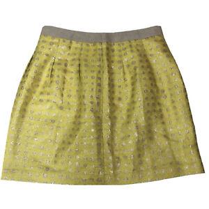 Ann Taylor LOFT Women's Size 6 Yellow Silver Polka Dot Pencil Skirt