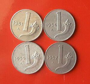 LOTTO 4 MONETE 1 LIRA 1951-1954-1955-1957 - SPEDIZIONI CUMULATIVE [LA013]