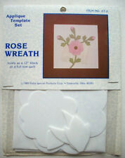 "Rose Wreath Rose Spray plastic templates for quilt quilting 12"" block"