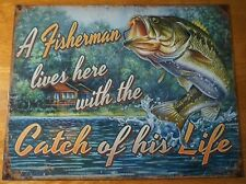 FISHERMAN LIVES HERE WITH THE CATCH OF HIS LIFE Fishing Lodge Cabin Decor Sign
