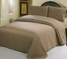 Queen Size Taupe 2100 Egyptian Quality flat fitted Sheet Set pillow case