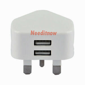 WHITE DOUBLE USB UK AC WALL PLUG CHARGER ADAPTER 2A FOR ALL iPhones SAMSUNG HTC