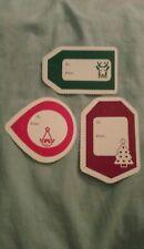 3 Xmas, Winter Holidays Paper Gift Tags: Reindeer, Xmas Tree & Elf (no strings)