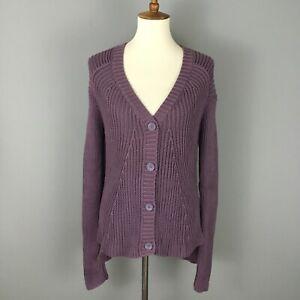 CASLON Purple Knit Cardigan Sweater Sz M Hi-Low Hem Tunic 100% Cotton NEW