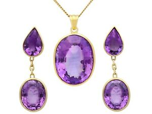 Vintage 42.91 ct Amethyst and 18k Yellow Gold Earring and Necklace Set 1950s