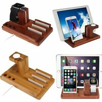 Wood Charge Charging Dock Stand Holder For Apple Watch iPhone i Pad Tablet Phone