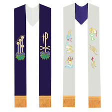 Christian Embroidery Reversible Priest Stole Catholic Pastor Clergy Mass Stole