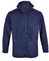 Mens Long Sleeve Top Polar Fleece Jacket Full Zip Funnel Neck Pull Over M-2XL