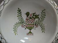 Hand-painted Serving Bowl Pink & Green Bird Pattern - Italy