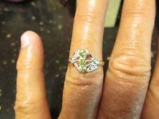 geniune demantoid garnet ring 3 stone diamond accents  925ss rhodium plated sz 6