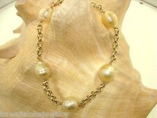 "Cultured South Sea Golden Pearl 14k Yellow Gold Rolo Link Bracelet 8"" Adjustable"