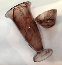 ANTIQUE SMOKEY AMBER ART MOLTEN GLASS RUBY VASE BOWL George Davidson & Co 1930