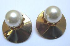 Rare boucles d' oreilles clips bijou ancien couleur or perles nacrées griffée 65