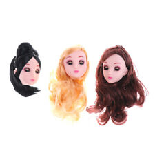 Kids Toy 4D Winking Doll Head with Hair DIY Accessory For 1/6 BJD Barbie Dolls p