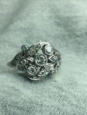 Retro White Gold Diamond Cluster Ring
