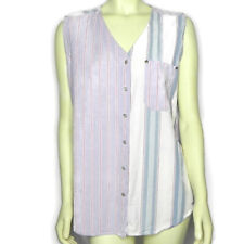 Vintage 90s Gitano Womens 18W Top Blue Sleeveless Pearl Buttons Pattern Block