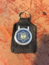Vintage ARKANSAS STATE POLICE Medallion Leather Type Key Chain FREE SHIPPING..!!