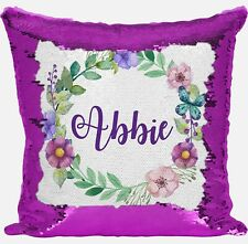 Personalised Floral Any Name Magic Reveal Sequin Cushion Cover Gift Pink 1