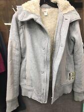 Diesel Men's Faux Fur Lined Full Zip Hoodie Light Gray Jacket  Size Medium