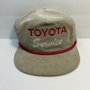 RARE Vintage TOYOTA SERVICE Beige Corduroy Leather Strap Hat Red Rope   ShipFREE