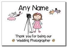 Thank You for Being Our Wedding Photographer Female Personalised Magnet