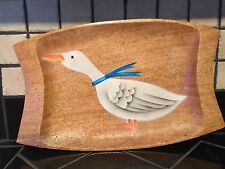 Antique Primitive Kitchen ART DECO Cheese Tray GOOSE DUCK Wooden Nut Bowl #