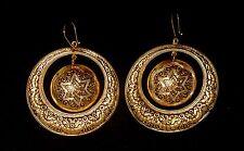 Passover Round Vintage Toledo Spain Earring 24K GP Damascene Style STAR OF DAVID