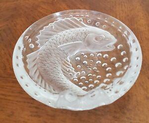"Lalique France Concarneau Koi Fish 6"" Crystal Ashtray Dish"