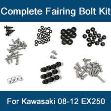 Complete Black Fairing Bolt Kit body screws for Kawasaki Ninja EX 250R 2008 2009