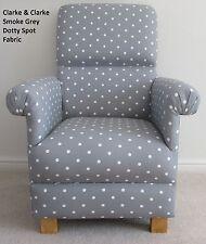Clarke Dotty Smoke Grey Fabric Chair Polka Dot Nursery Armchair Shabby Chic Spot