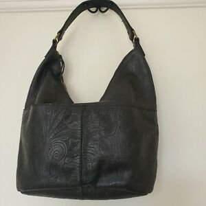 American Leather Co. Tooled Leather Shoulder Hobo Bag Black Large