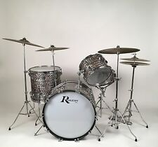 1964 Rogers Holiday Black Onyx Pearl Drum Kit with Cases - VERY Clean!