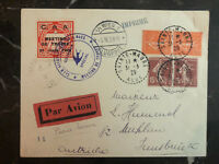 1929 Sainte maure France First Flight Cover FFC  to Vienna Austria  with Labels
