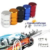 Tappi Tappini Gomme Esagonali Alluminio Tire Cerchioni tuning Auto Moto BLU