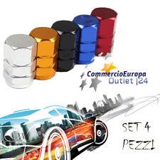 Tappi Tappini Gomme Esagonali Alluminio Tire Cerchioni tuning Auto Moto NERO