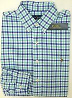 NWT $89 Polo Ralph Lauren Oxford LS Shirt Men S M L XL XXL Blue Aqua Green Plaid