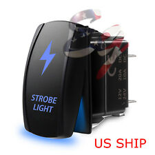 LED Strobe Blue Waterproof ROCKER SWITCH LASER ETCHED 5 PIN 12v 20a CAR Marine
