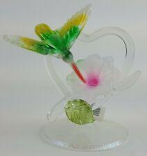 Hand Spun Blown Glass Figurine Hummingbird Heart Green Flower