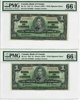 Canada $1 Lot of Two Consecutive Banknotes 1937 BC-21c PMG GEM UNC 66 EPQ