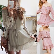 Boho Women Long Sleeve Ruffle Chiffon Off Shoulder Mini Dress Summer Beac Dzco
