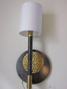 """16"""" WALL SCONCE Modern Brass & Silvertone Disc w Candlestick Light + Drum Shade"""