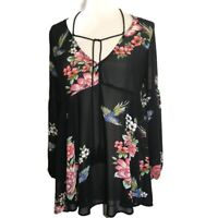 Forever 21 Black Women's Semi Sheer Floral Top Blouse CUTE Small   A64