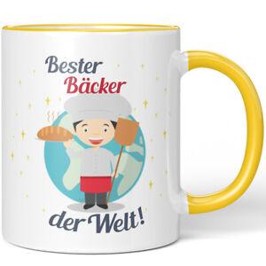 "JUNIWORDS Tasse ""Bester Bäcker der Welt!"" Geschenk Geburtstag Beruf Job Büro"