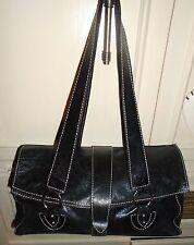 Italy Designer HELEN WELSH Black Leather Satchel Shoulder Handbag Purse Tote
