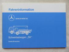 Mercedes Fahrerinformation LKW Lastwagen SK - Betriebsanleitung / Handbuch 1989