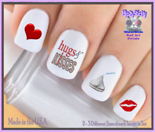 24 Nail Decals #7613 VALENTINES Hugs & Kisses Lips WaterSlide Nail Art Transfers