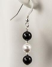 Tuxedo Mix Crystal Pearl Earrings made with Swarovski Pearls Black White iDu