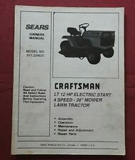 1989 SEARS CRAFTSMAN LT 12hp 917.254631 LAWN GARDEN TRACTOR OPERATORS MANUAL